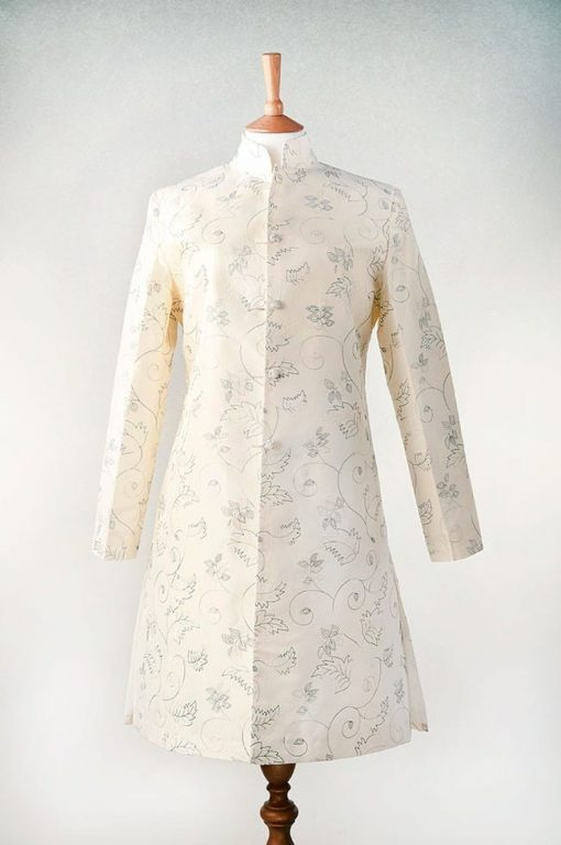 Cream silk jacket with blue embroidery
