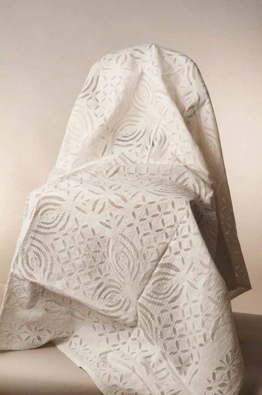 White cotton patchwork on organza-KINGSIZE
