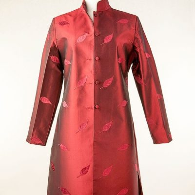Red silk jacket with embroidery
