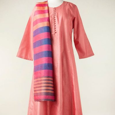 Silk dress in rose pink