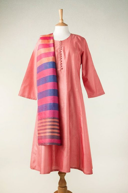 Silk dress in rose pink