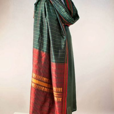 Silk sari in rich dark green with dark red pallu