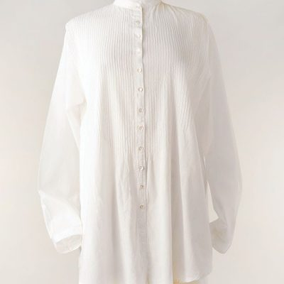 White pintuck shirt in cotton