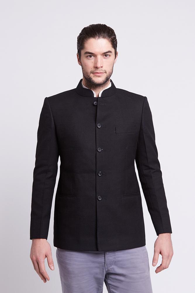dfc921116398 Linen jacket in black – Maharani Trading